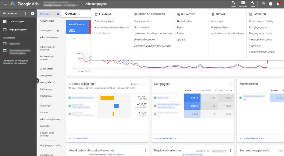 google ads nieuwe interface